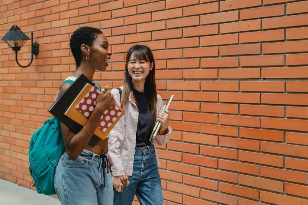 Women studying abroad thanks to the language certificates that they had.